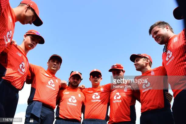 England players gather in a team huddle during the Physical Disability World Series 2019 Final mach between England and India at New Road on August...