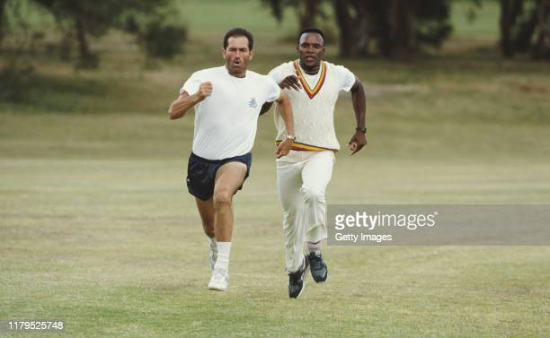 England players Graham Gooch and Devon Malcolm sprinting during a training fitness session on the 1990/91 Ashes tour to Australia