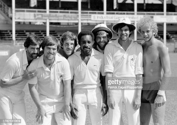 England players Graham Gooch, Mike Gatting, Ian Botham, Roland Butcher, Peter Willey, Geoff Miller and David Gower pose for photos during a training...