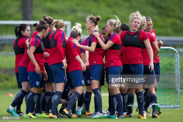 England players group huddle before they start their training during the England Training Session at Sporting 70 on August 2 2017 in Utrecht...
