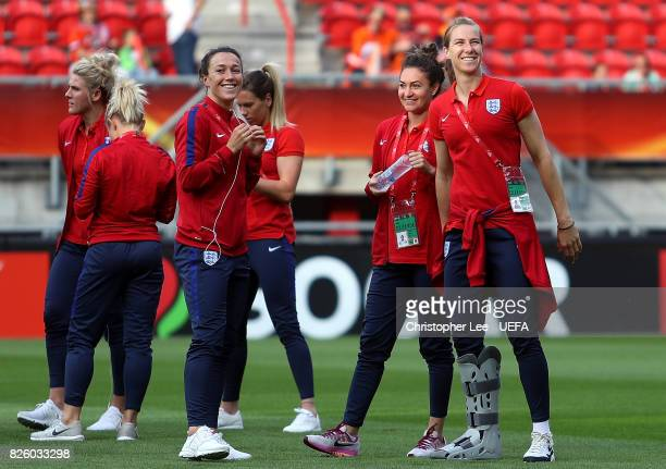 England players inspect the pitch ahead of the UEFA Women's Euro 2017 Semi Final match between Netherlands and England at De Grolsch Veste Stadium on...