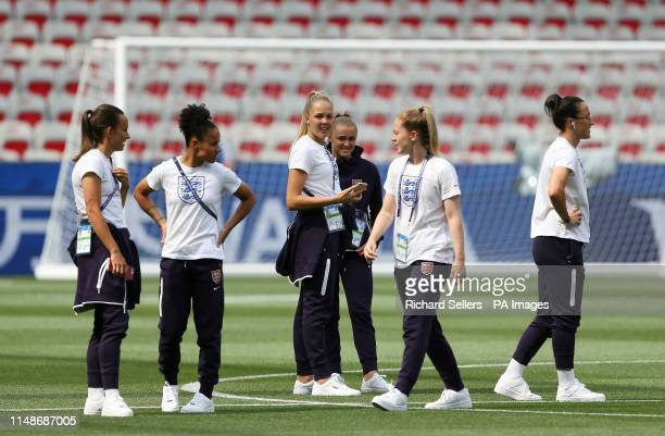England players inspect the pitch before kick off during the FIFA Women's World Cup Group D match at the Stade de Nice