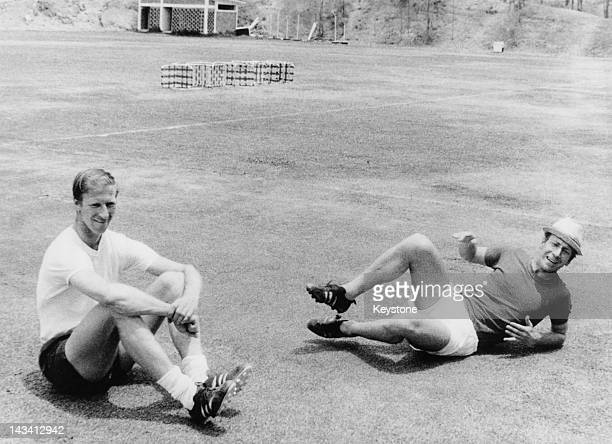England players Jack and Bobby Charlton relaxing during training at the World Cup, Mexico City, May 1970.