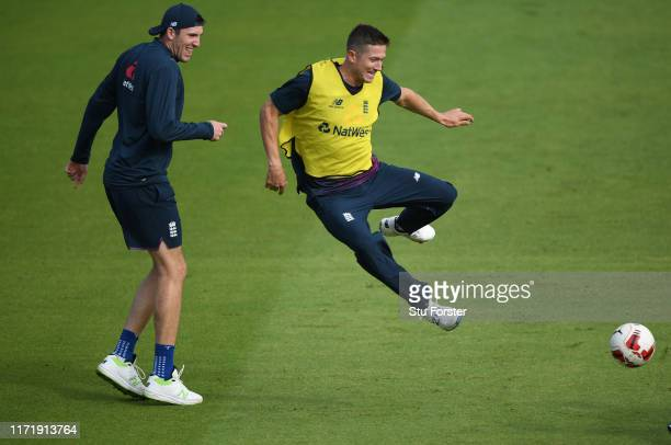 England players Joe Denly and Craig Overton in action during the football match during England nets ahead of the 4th Test match at Emirates Old...