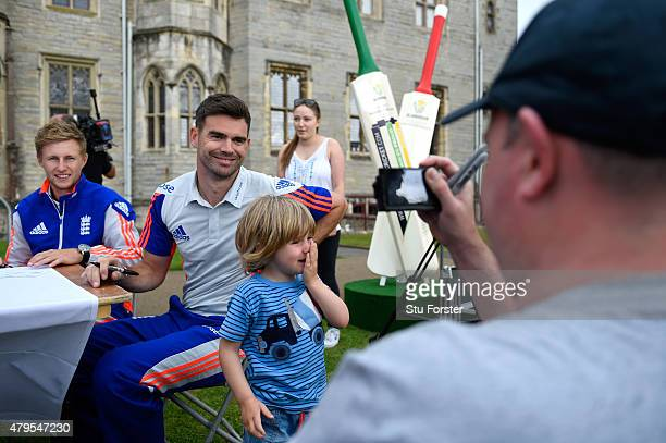 England players Joe Root and James Anderson pose for pictures with fans at the Tafwyl 2015 event at Cardiff Castle on July 5 2015 in Cardiff Wales
