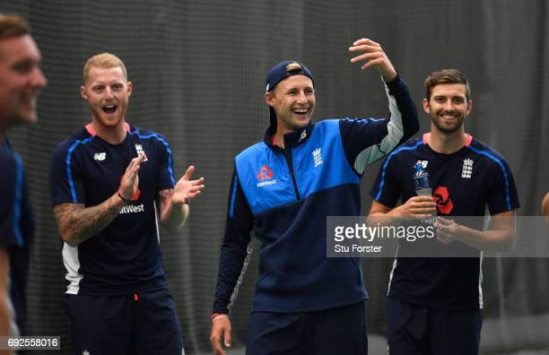 England players Joe Root Ben Stokes and Mark Wood react during a game of Football during nets at the Swalec Stadium ahead of the ICC Champions Trophy...