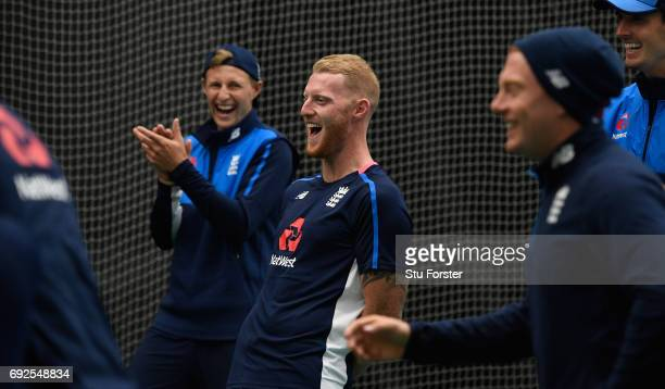 England players Joe Root Ben Stokes Jonny Bairstow and Steven Finn share a joke during a game of Football during nets at the Swalec Stadium ahead of...