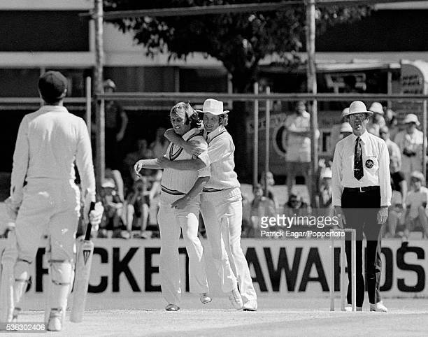 England players John Lever and Bob Willis during the 2nd Ashes Test Match between Australia and England at Perth Australia 16th December 1978 The...