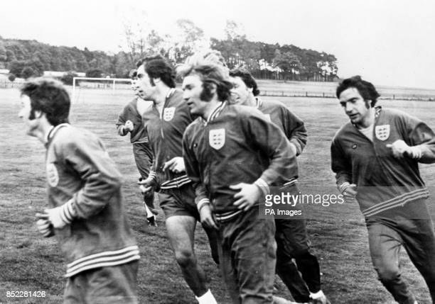 England players Kevin Hector, Mike Channon, Peter Shilton, Tony Currie, Ray McFarland and Norman Hunter during an early morning training session at...