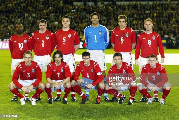 England players line up before playing Sweden during the friendly international at the Ullevi Stadium Goteborg Sweden Back row LR Darius Vassell...