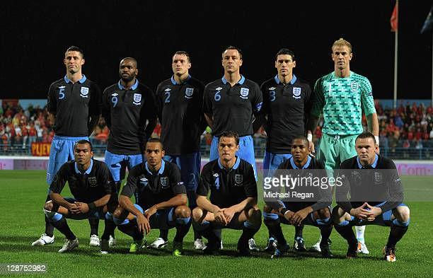 England players line up for a team photo before the UEFA EURO 2012 Group G qualifier match between Montenegro and England at the Gradski Stadium on...