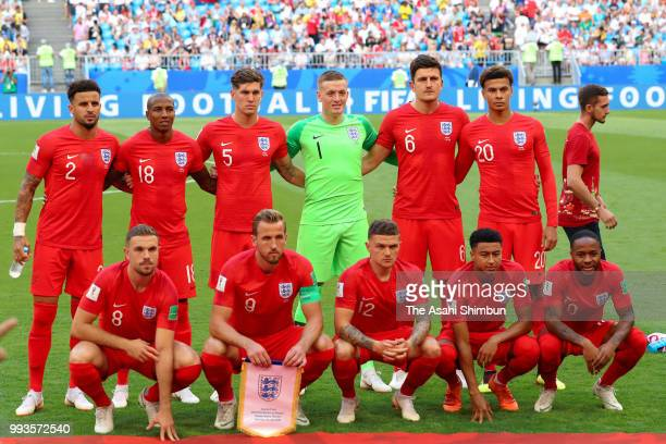 England players line up for the team photos prior to the 2018 FIFA World Cup Russia Quarter Final match between Sweden and England at Samara Arena on...