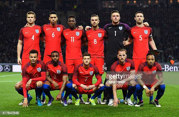 England players line up for the team photos prior to the International Friendly match between Germany and England at Olympiastadion on March 26 2016...