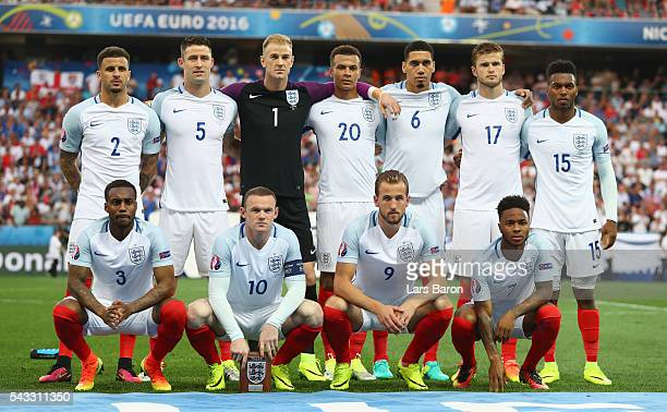 England players line up for the team photos prior to the UEFA EURO 2016 round of 16 match between England and Iceland at Allianz Riviera Stadium on...