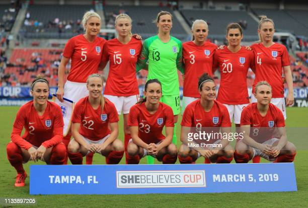 England players line up prior to the 2019 SheBelieves Cup match between England and Japan at Raymond James Stadium on March 05 2019 in Tampa Florida