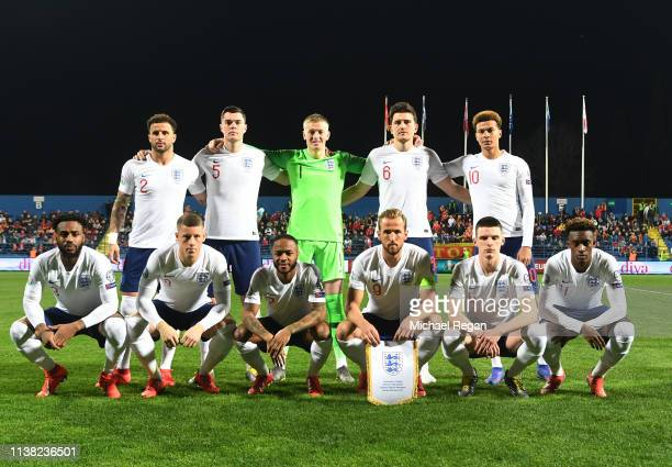 England players line up prior to the 2020 UEFA European Championships Group A qualifying match between Montenegro and England at Podgorica City...