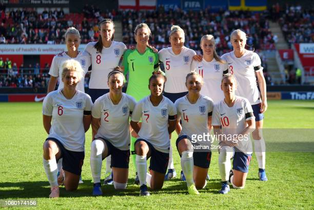 England players line up prior to the International Friendly match between England Women and Sweden Women at The New York Stadium on November 11 2018...