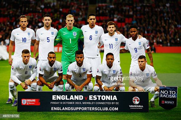 England players line up prior to the UEFA EURO 2016 Group E qualifying match between England and Estonia at Wembley on October 9 2015 in London...