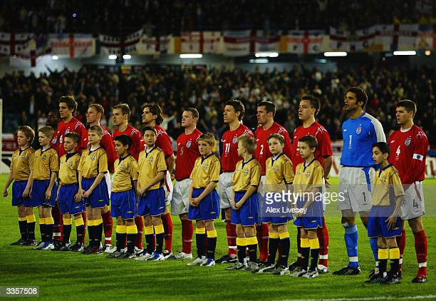 England players lineup before the International Friendly match between Sweden and England held on March 31 2004 at the Ullevi Stadium in Gothenburg...