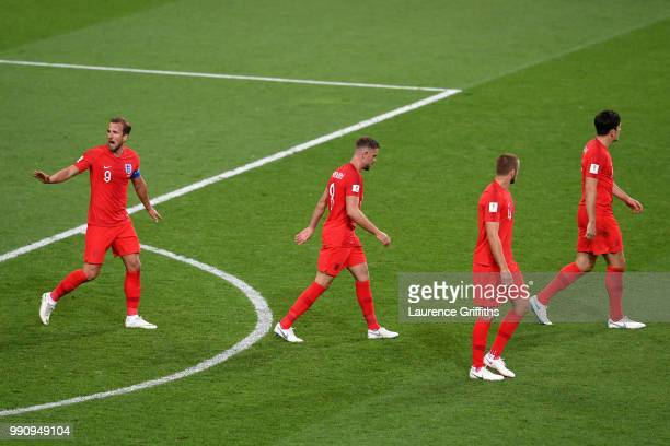 England players look dejected after conceding during the 2018 FIFA World Cup Russia Round of 16 match between Colombia and England at Spartak Stadium...