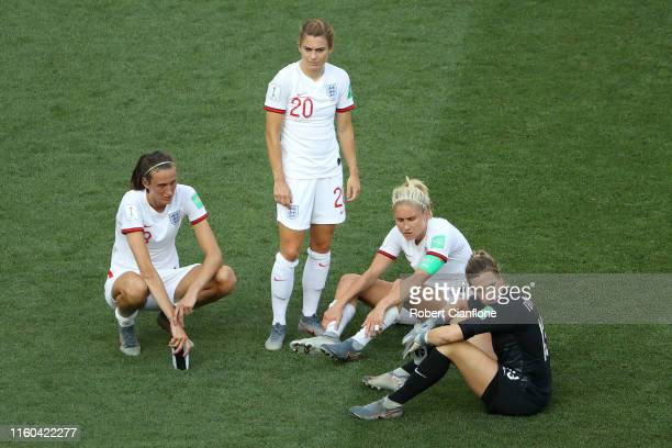 England players look dejected following their sides defeat in the 2019 FIFA Women's World Cup France 3rd Place Match match between England and Sweden...