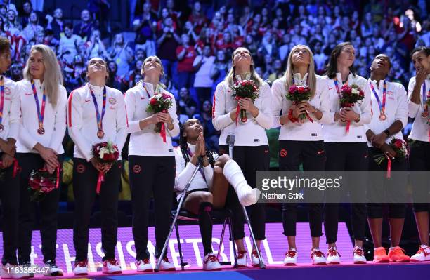 England players look on as they win a bronze medal during the Vitality Netball World Cup Final match between Australia and New Zealand at MS Bank...