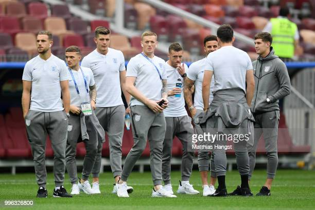 England players look on during a pitch inspection prior to the 2018 FIFA World Cup Russia Semi Final match between England and Croatia at Luzhniki...