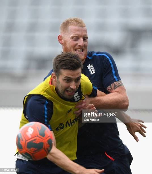 England players Mark Wood and Ben Stokes battle for possion during a game of Football in the rain during England nets ahead of the 1st Test Match...