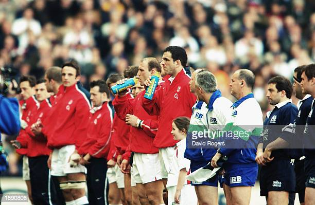 England players Martin Johnson and Lawrence Dallaglio enjoy a Lucozade Sport before the RBS Six Nations Championship match between England and...