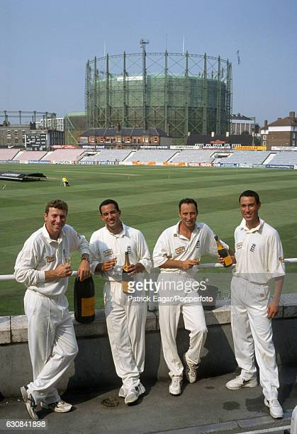 England players Mike Atherton Adam Hollioake Nasser Hussain and Ben Hollioake at a Veuve Clicquot champagne promotion before the 6th Test match...