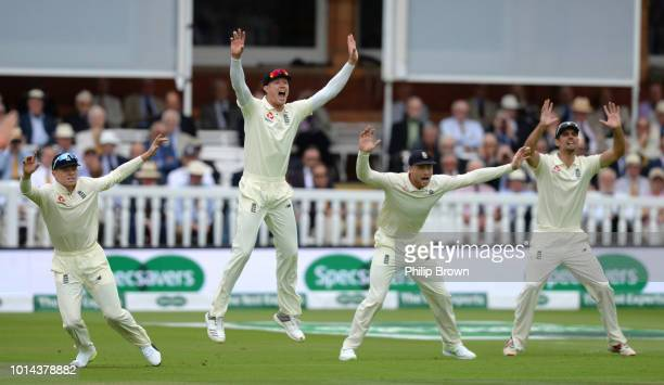 England players Ollie Pope Keaton Jennings Jos Buttler and Alastair Cook react during the 2nd Specsavers Test Match between England and India at...