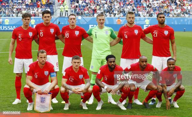 England players pose ahead of a World Cup playoff for third place against Belgium at Saint Petersburg Stadium in St Petersburg Russia on July 14 2018...