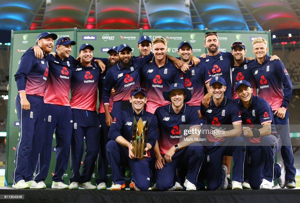 England players pose for a team photo after winning the series and game five of the One Day International match between Australia and England at Perth Stadium on January 28, 2018 in Perth, Australia.