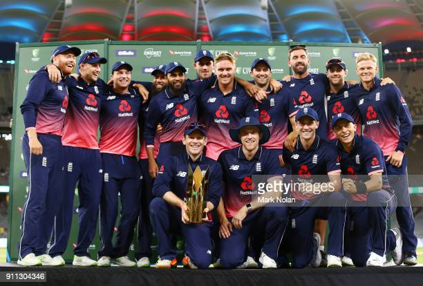 England players pose for a team photo after winning the series and game five of the One Day International match between Australia and England at...