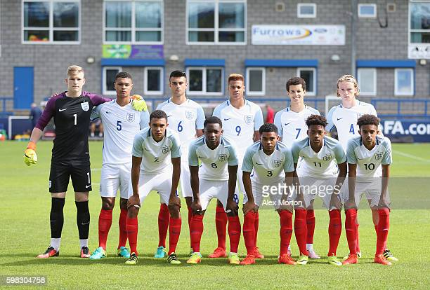 England players pose for a team photo during the international friendly match between England U19 and Netherlands U19 on September 1 2016 in Telford...