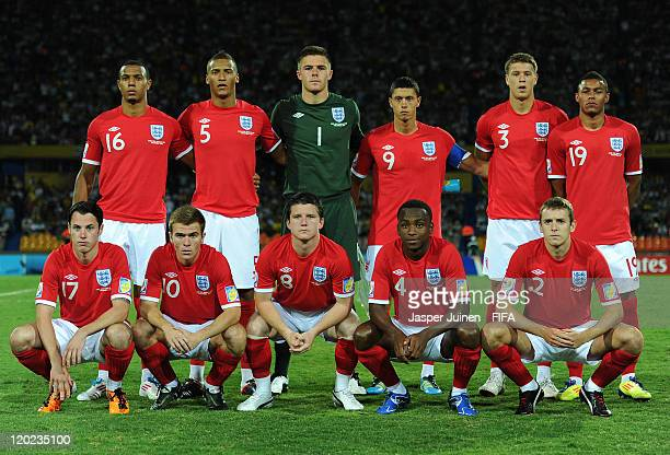 England players pose for a team picture during the FIFA U20 World Cup Colombia 2011 group F match between Argentina and England at the Atanasio...