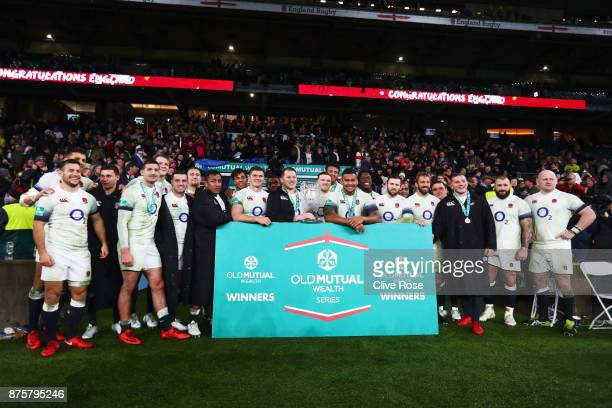 England players pose with the Cook Cup during the Old Mutual Wealth Series match between England and Australia at Twickenham Stadium on November 18...