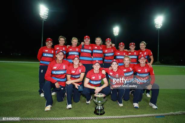 England players pose with the winners trophy after winning the T20 match between the GovernorGeneral's XI and England at Drummoyne Oval on November...