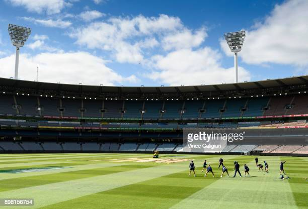 England players practice slips catching during an England nets session at the MCG on December 25 2017 in Melbourne Australia