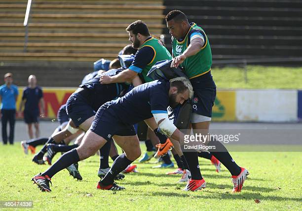England players pratice their tackling during the England training session held at Ponsonby Rugby Club on June 12 2014 in Auckland New Zealand