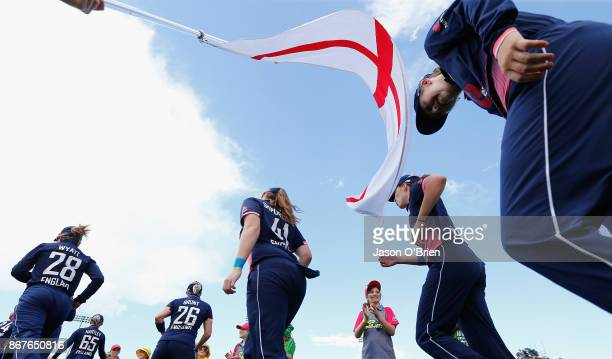 England players prior to teking the field for the 2nd innings during the Women's International One Day match between Australia and England on October...
