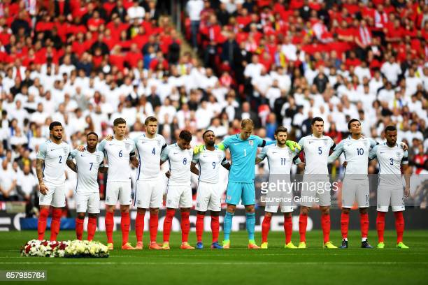 England Players remember those who lost their lives in the recent Westminster terrorist attacks prior to during the FIFA 2018 World Cup Qualifier...