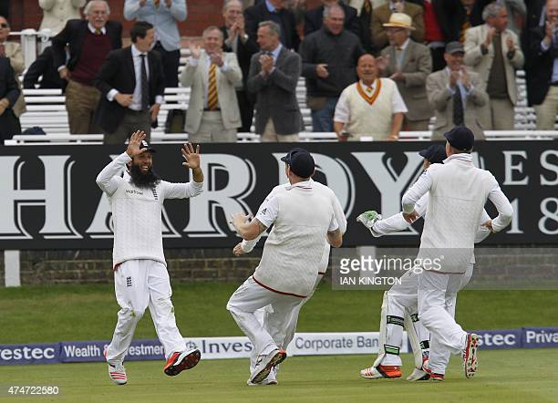 England players run to Englands Moeen Ali after he catches out New Zealands Trent Boult for 10 runs and England win the match by 124 runs during the...