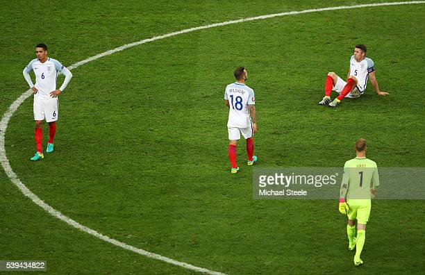 England players show their dejection after their 11 draw in the UEFA EURO 2016 Group B match between England and Russia at Stade Velodrome on June 11...