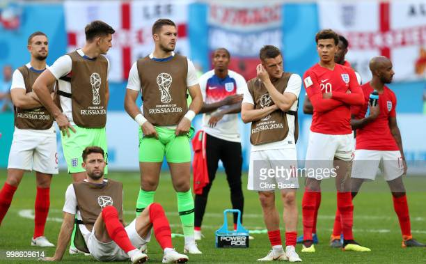 England players show their dejection following the defeat in the 2018 FIFA World Cup Russia 3rd Place Playoff match between Belgium and England at...