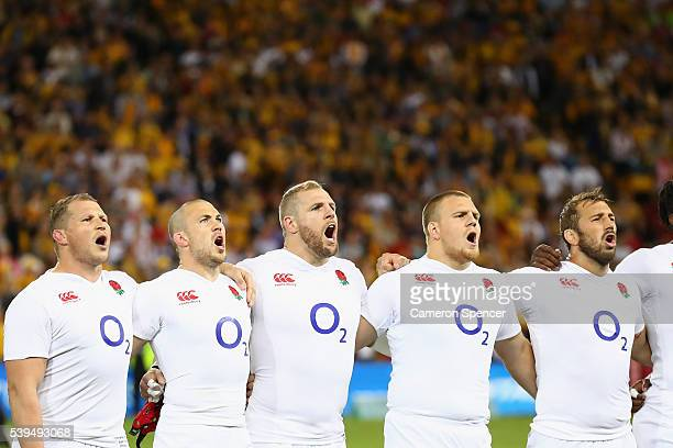 England players sing the English national anthem during the International Test match between the Australian Wallabies and England at Suncorp Stadium...
