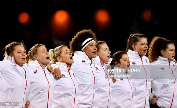 England players sing the national anthem prior to the Old Mutual Wealth Series between England Women and Canada Women at Allianz Park on November 17...