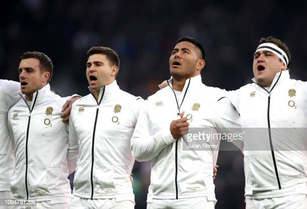 England players sing their national anthem ahead of the Quilter International match between England and Australia at Twickenham Stadium on November...