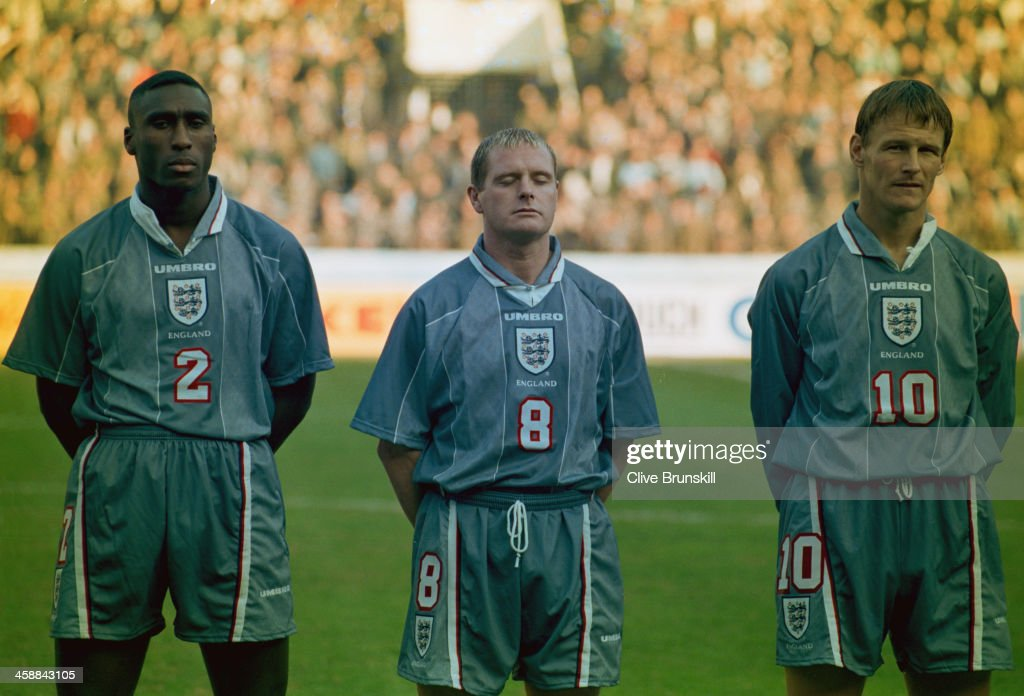 England players Sol Campbell (left), Paul Gascoigne (centre) and Teddy Sheringham line-up before the FIFA World Cup France 1998 Qualifying match against Ukraine, Boris Paichadze Stadium, Tbilisi, Georgia, 9th November 1996. England went on to win the game 2 - 0.