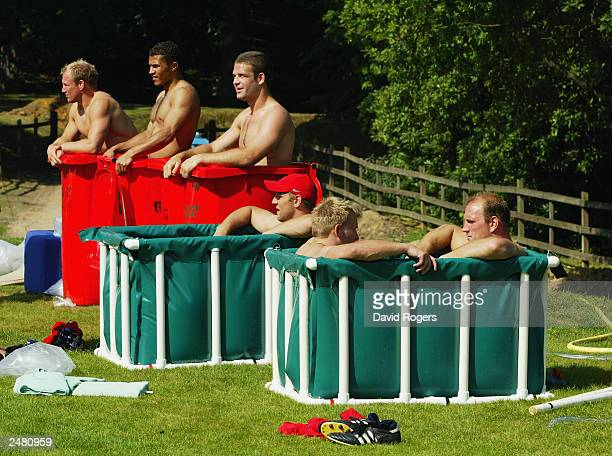 England players take ice baths during England Rugby Union training held on August 6 2003 at the Pennyhill Park Hotel in Bagshot England